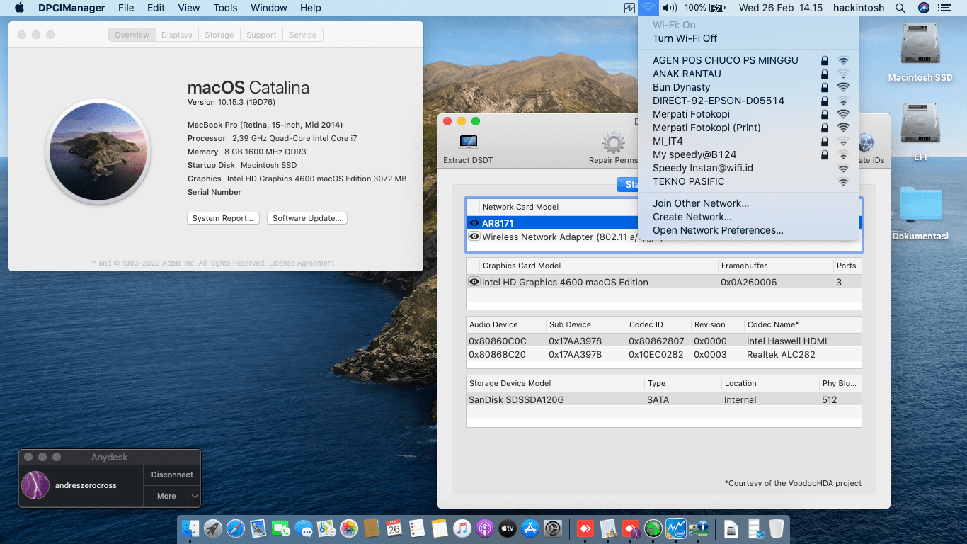 Success Hackintosh macOS Catalina 10.15.3 Build 19D76 at Lenovo Ideapad Y410P